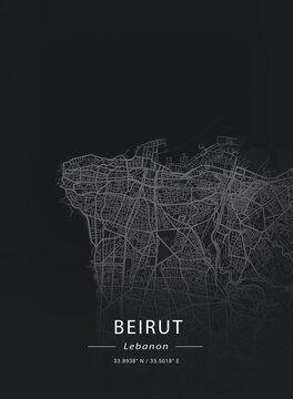 Map of Beirut, Lebanon