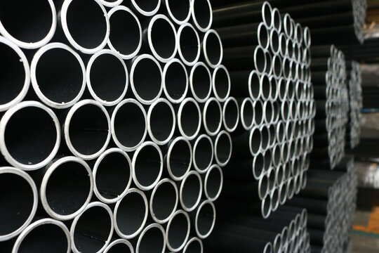 Steel round pipe packaging background.