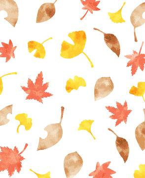 綺麗な水彩の秋の葉っぱの背景素材