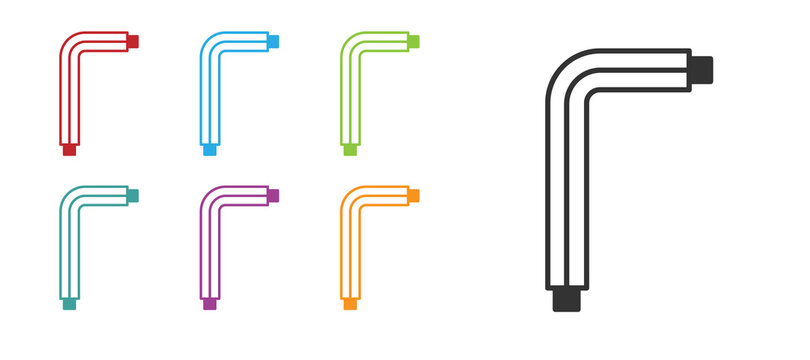 Black Tool allen keys icon isolated on white background. Set icons colorful. Vector