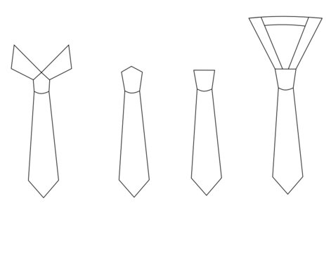 Set of necktie isolated on white background.White tie cartoons.Outline vector illustration.Flat design.Sign, symbol, icon or logo.Mockup template.