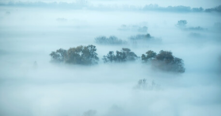 Atmospheric landscape covered with autumn mist