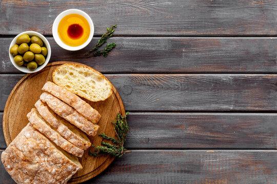 Ciabatta italian bread with olive oil and balsamic vinegar