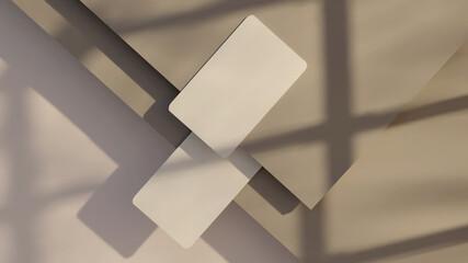 Obraz Business card white brown mockup 3d rendering - fototapety do salonu