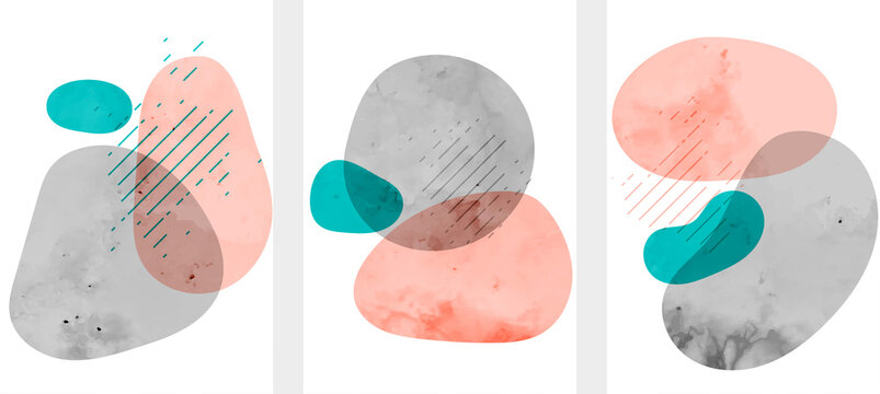 abstract minimal watercolor hand drawn fluid shapes background
