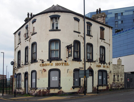 leeds, west yorkshire - 17 June 2021: the derelict crown hotel soon to be redeveloped as part of the aire park mixed use development site