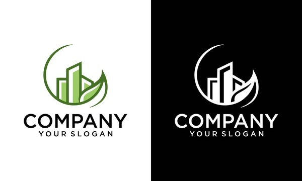 Simple illustration logo design green real estate, combining leaf and building. good for company related Construction and Real estate.