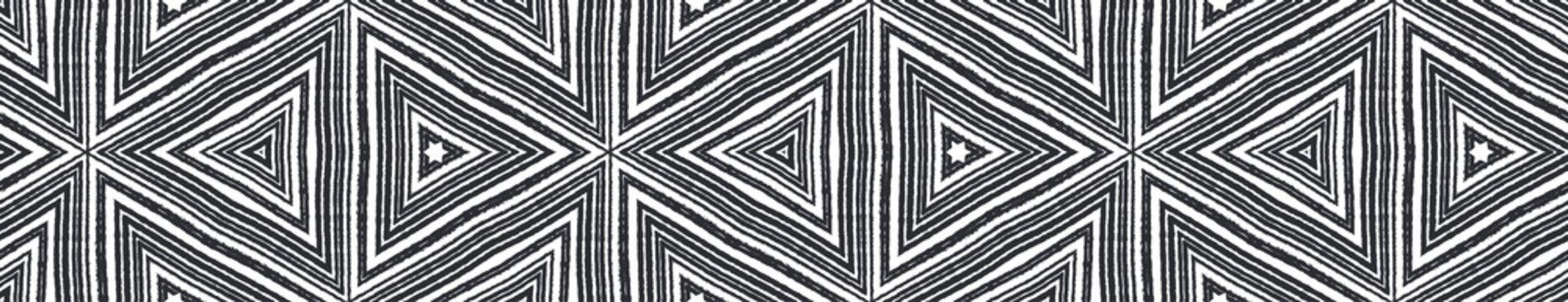 Mosaic seamless border. Black symmetrical