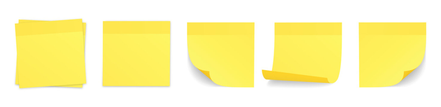 Realistic yellow stick note set. Isolated post-it notes collection with curled corners and shadows. Vector illustration on white background.