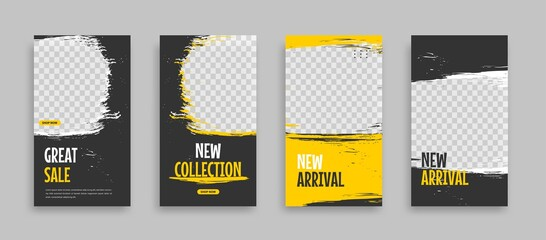 Fototapeta Set of Editable minimal square banner template. Blue yellow white background color with geometric shapes for social media post, story and web internet ads. Vector illustration obraz
