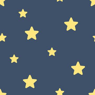 The Seamless pattern simple yellow star on dark blue background. Vector illustrator.