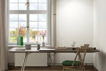 Fototapeta Blank white wall mock up in living room obraz