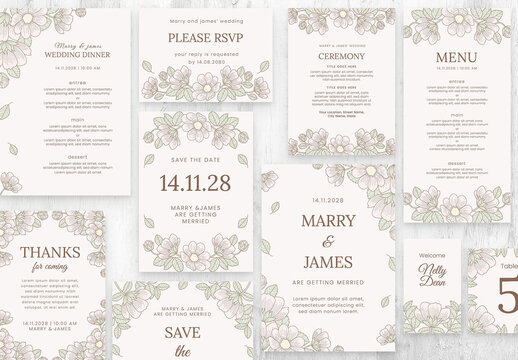 Wedding Suite Layout with Ornate Hand Drawn Flowers