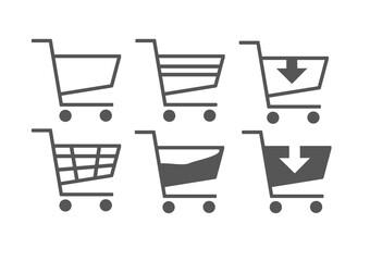 Fototapeta Zestaw ikon koszyka, symbol koszyka, sklep i sprzedaż, ilustracje wektorowe.  wkładanie do koszyka obraz