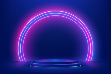 Obraz Abstract 3D dark blue cylinder pedestal podium with glowing semicircle neon backdrop. Technology futuristic scene. Sci-fi platform concept. Modern vector rendering for product display presentation - fototapety do salonu