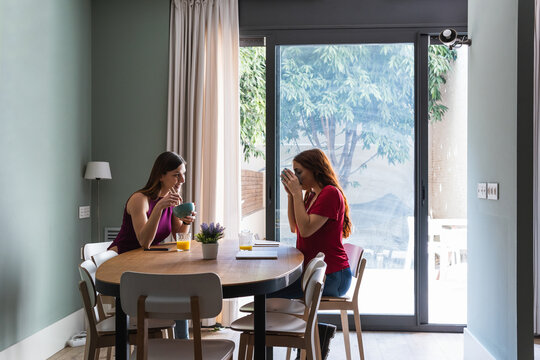 Cheerful women having lunch together in modern apartment