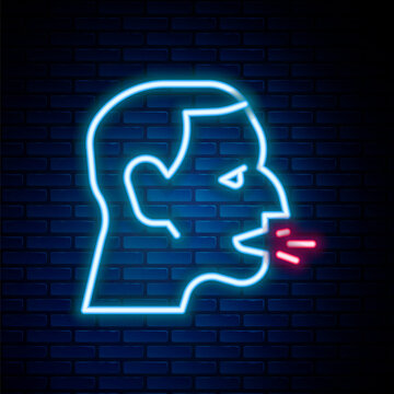 Glowing neon line Man coughing icon isolated on brick wall background. Viral infection, influenza, flu, cold symptom. Tuberculosis, mumps, whooping cough. Colorful outline concept. Vector