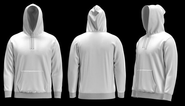 4K 3D rendered images of Blank white hoodie template. Hoodie sweatshirt long sleeve with clipping path, hoody for design mockup for print, isolated on white background.