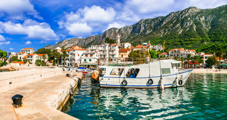 Scenic Adriatic coast of Croatia - picturesque Gradac fishing village and popular touristic place in Dalmatia. Croatia travel and landmarks