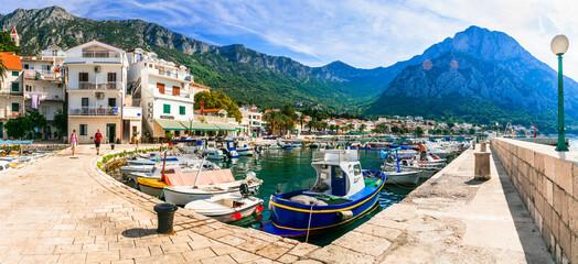 Scenic Adriatic coast of Croatia - picturesque Gradac coastal town and popualr touristic place in Dalmatia. Croatia