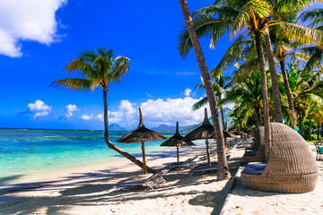 Relaxing tropical holidays. best beaches of Mauritus island, Flic en Flac