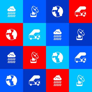 Set Cloud with rain, Radar, Worldwide and Passenger ladder icon. Vector
