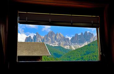 Fototapeta le odle seen from a window south tyrol dolomites italy obraz