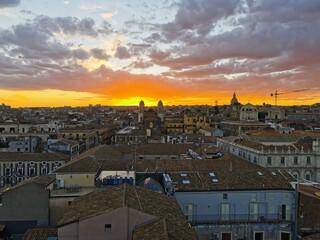 Fototapeta Sunset in Catania obraz