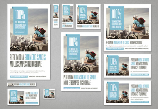 Social Media & Web Banners Templates in Pale Blue and Light Gray