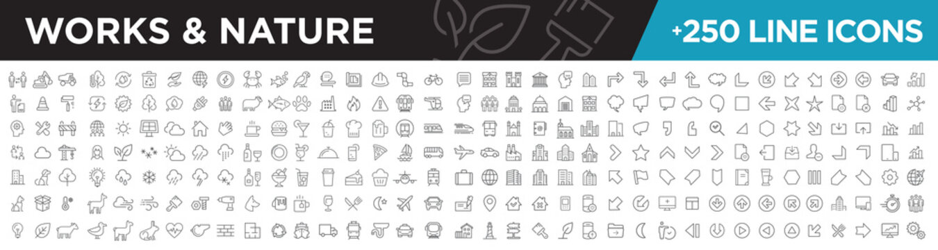 Works & nature icons line