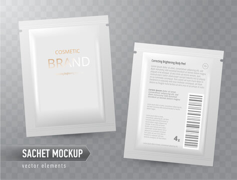 Vector realistic blank package, disposable foil sachet for facial mask or shampoo, isolated on transparent background. Cosmetic product for face care, skin treatment. Mockup for brand promotion, packa