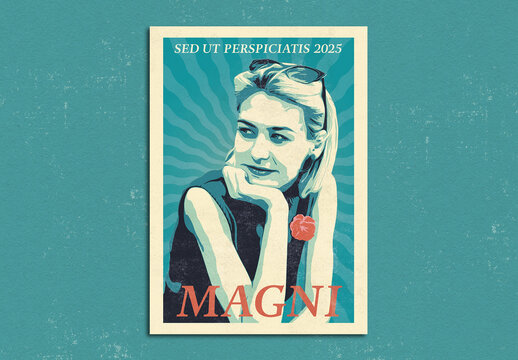 Pop Art Biker Girl Poster Layout