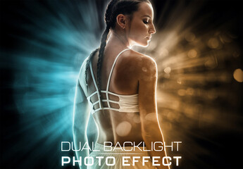 Obraz Dual Backlight Photo Effect Mockup with Two Glowing Color  - fototapety do salonu