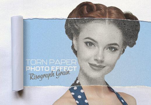 Risograph Grain on Torn Paper Photo Effect Mockup