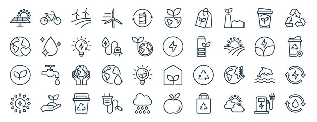 Fototapeta linear pack of eco line icons. linear vector icons set such as eco, eco, vector illustration. obraz