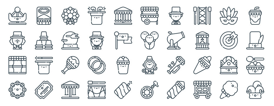 linear pack of carnival line icons. linear vector icons set such as poster, kiosk, balloon, stage, tambourine, jester. vector illustration.