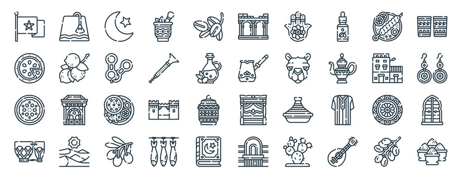 linear pack of morocco line icons. linear vector icons set such as fez, volubilis, cezve, couscous, drum, spice. vector illustration.