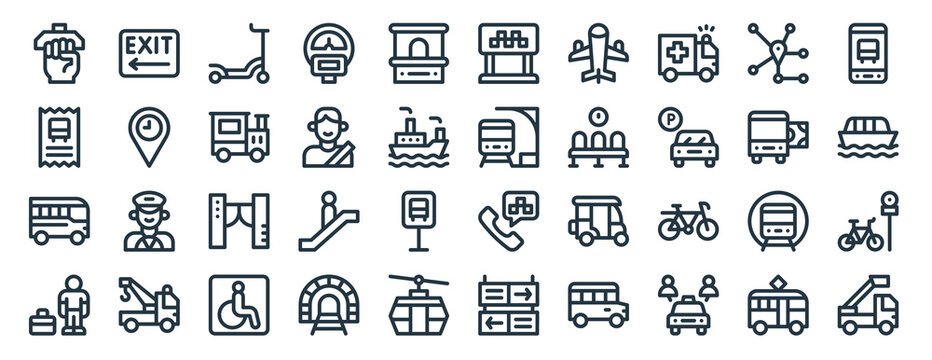 linear pack of public transportation line icons. linear vector icons set such as exit, taxi, train, bus, traveler, firetruck. vector illustration.