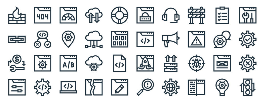 linear pack of web maintenance line icons. linear vector icons set such as error, padlock, browser, swap, control, traffic light. vector illustration.