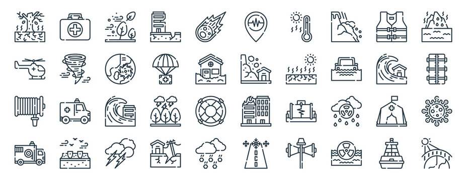 linear pack of natural disaster line icons. linear vector icons set such as first aid kit, earthquake, landslide, water hose, firefighter, house effect. vector illustration.