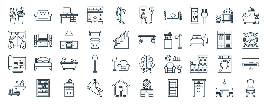 linear pack of interior design line icons. linear vector icons set such as sofa, water heater, table, print, shelf, chair. vector illustration.
