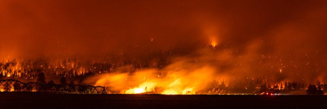 Panorama of Northern California wildfire