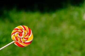 Colorful rainbow lollipop and nature background