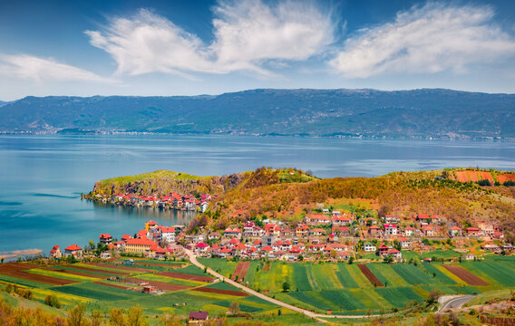 Aerial spring cityscape of Lin town. Stunning morning scene of Ohrid lake. Incredible outdoor scene of Albania, Europe. Traveling concept background.