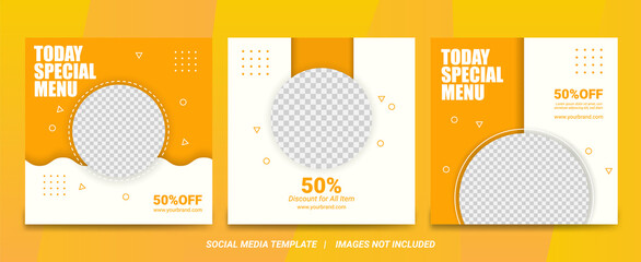 Set of Editable minimal square banner template. White and yellow background color with stripe line shape. Suitable for social media post and web internet ads. Vector illustration with photo college