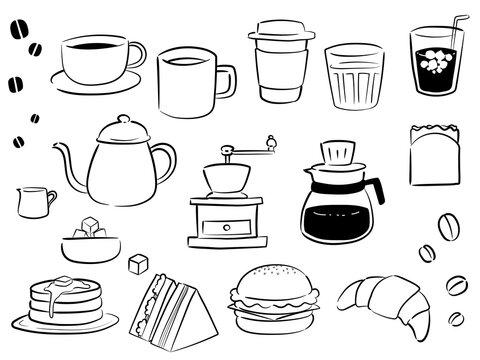 カフェのコーヒー等のイラスト