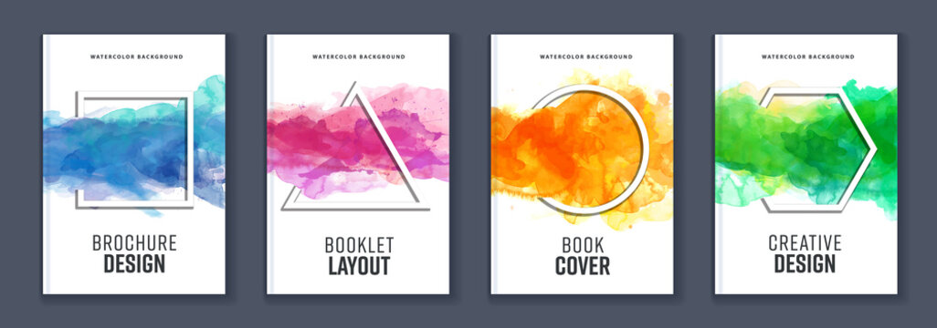 Watercolor booklet brochure colourful abstract layout cover design template bundle set