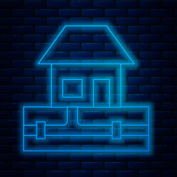 Glowing neon line Water supply pipes and house icon isolated on brick wall background. Vector