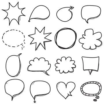 Hand drawn balloon text set. doodle balon text