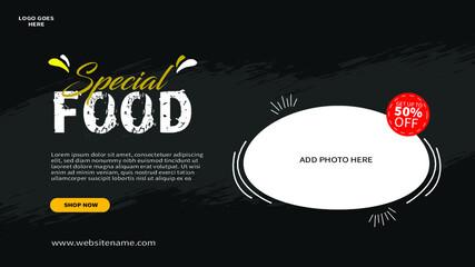 Fototapeta food restaurant web banner template design obraz